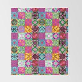 Bohemian Jungle Quilt Tiles Throw Blanket