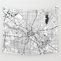 dallas Wall Tapestries featuring Dallas Map Gray by City Art Posters
