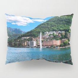 Lake Lugano lakeside path with alpine and fountain view Switzerland photograph Pillow Sham