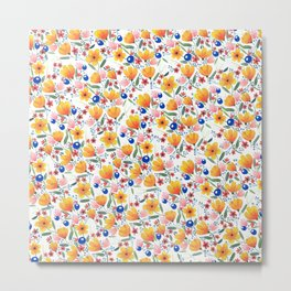 Orange Floral Pattern Metal Print