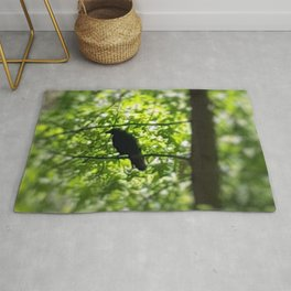 Black Bird Summer Green Tree Rug