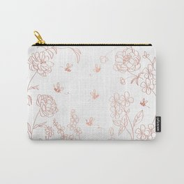 Bee Nice - rose gold & white Carry-All Pouch