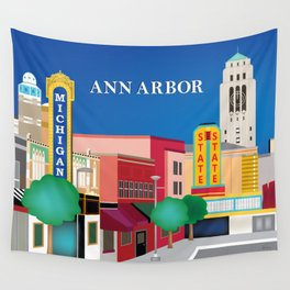 Ann Arbor, Michigan - Skyline Illustration by Loose Petals Wall Tapestry
