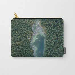 Aerial photo of a magic lake hidden inside a pine forest Carry-All Pouch