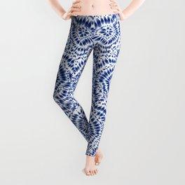Indigo Blue Tie Dye Textile Pattern Leggings