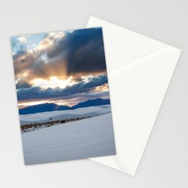 One More Moment - Sunbeams Burst From Clouds Over White Sands New Mexico Stationery Cards