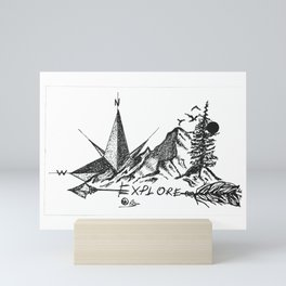 """Explore More"" Hand-Drawn by DarkMountainArts Mini Art Print"