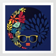 Afro Diva : Sophisticated Lady Blue Art Print