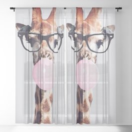 Giraffe wearing glasses blowing bubble gum Sheer Curtain