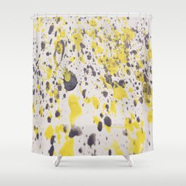 Yellow Grey Classic Abstract Art Shower Curtain