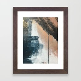 Honey 1: a pretty, minimal abstract in midnight blue, rose gold, and white Framed Art Print