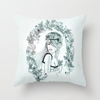 olivia joy Throw Pillows featuring Olivia by Quill