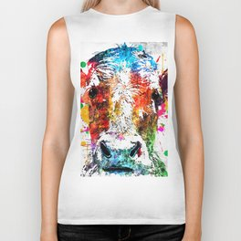 Cow Watercolor Grunge Biker Tank