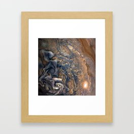 Swirling Clouds of Planet Jupiter Close Up from Juno Cam Framed Art Print