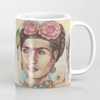 frida Mugs featuring FRIDA by busymockingbird