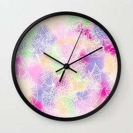 Modern white floral illustration on bright watercolor brushstrokes Wall Clock
