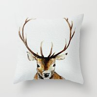 craftberrybush Throw Pillows featuring Buck - Watercolor by craftberrybush
