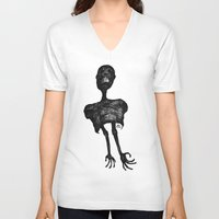 pain V-neck T-shirts featuring Pain by Alain Poncelet