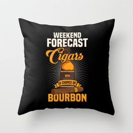 Funny Cigar & Whisky Gift I Weekend Forecast Throw Pillow