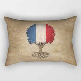 Vintage Tree of Life with Flag of France Rectangular Pillow