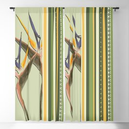Bird of Paradise with stripes Blackout Curtain