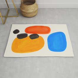 Minimalist Modern Mid Century Colorful Abstract Shapes Primary Colors Yellow Orange Blue Bubbles Rug