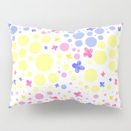 pink blue and yellow spots and flowers Pillow Sham