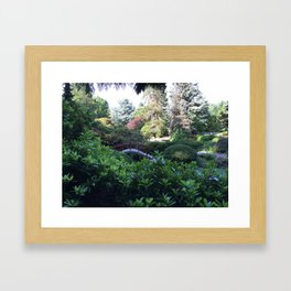 Kubota Garden - red bridge landscape photo Framed Art Print