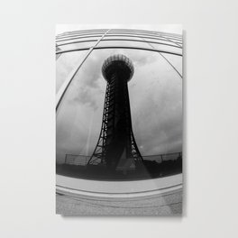 Knoxville 1982 Sunsphere Reflection Black and White Metal Print