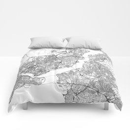 Istanbul White Map Comforters