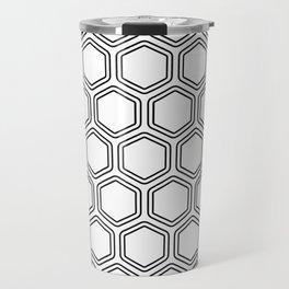 Seamless Monochrome Artistic Beehive Hexagonal Geometric Pattern Travel Mug