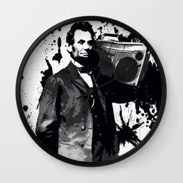 ABRAHAM LINCOLN INK SPLASH MAKE MUSIC NOT WAR Wall Clock