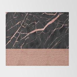 Dark stormy rose gold marble Throw Blanket