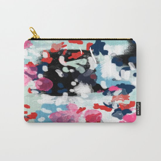 Aubrey - Abstract painting in bright colors pink navy white gold Carry-All Pouch