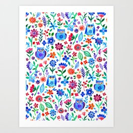 Little Owls and Flowers on White Art Print