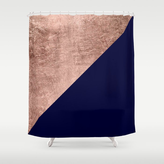 Minimalist Rose Gold Navy Blue Color Block Geometric Shower Curtain