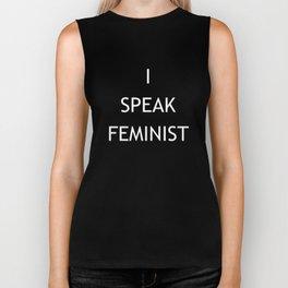 I Speak Feminist (white) Biker Tank