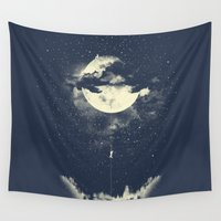 night Wall Tapestries featuring MOON CLIMBING by los tomatos