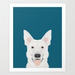 German Shepherd - White cute dog portrait Art Print