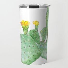 Prickly Pear Cactus Watercolor Travel Mug