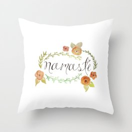 Namaste Floral Watercolor Throw Pillow