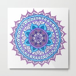 Purple and Blue Mandala Metal Print