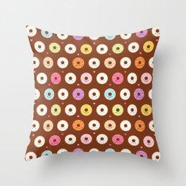 Kawaii Donuts Pattern on Brown Throw Pillow