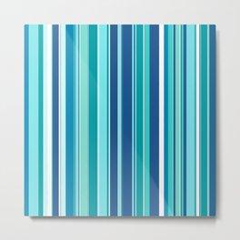 Stripes (Parallel Lines) - White Blue Metal Print