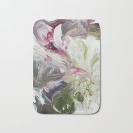 Abstract Painting Fluid Art Floral Spring Colors Acrylic on Canvas Bath Mat