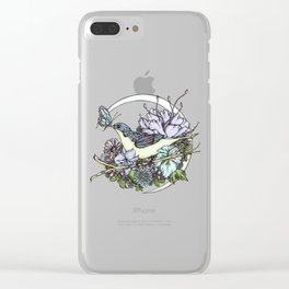 Bird and Butterfly Friendship in Pastel Clear iPhone Case