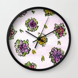 Watercolor Flower Pattern Wall Clock