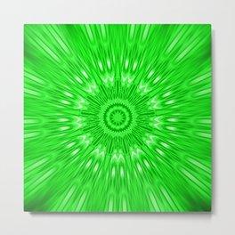 Green Mandala Explosion Metal Print