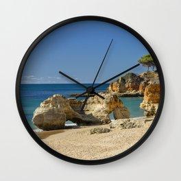 rock formation on Olhos d'Agua beach, Portugal Wall Clock