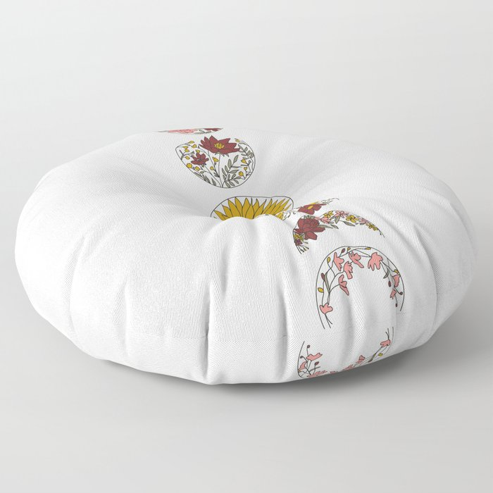 Floral Phases of the Moon Floor Pillow